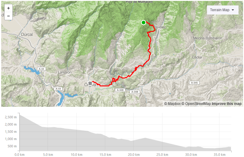 Day three strava route at Freeride Spain